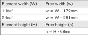 Calculation of free opening, outward opening doors