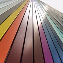 Aluminium profiles polyester powder-coated in various colours